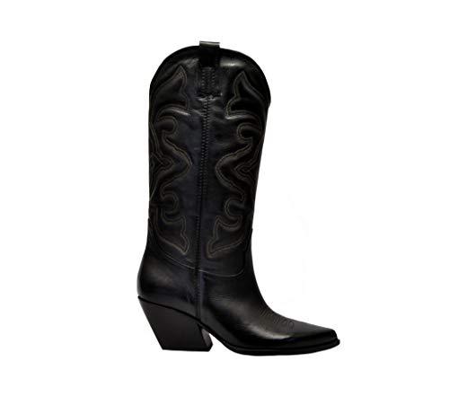 Elena Iachi dames E2000black zwart lederen laarzen