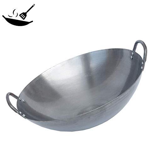 LIBINA Wok Hierro Fundido Profesional Wok Hierro binaural Wok doméstico Wok sin Revestimiento para Cocina Gas