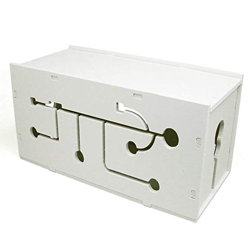 [2-Pack] White Cable Management Box Organizer - 4.7x5.5x10.2in, Large (Storage for Desk, TV, Computer, USB Hub) System to Cover and Hide, Power Strips, Surge Protector, Cords + Wire Ties