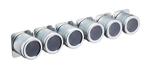 Kitchen Craft MasterClass Magnetische/Wandmontiertes Gewürzregal, Küchenregal für Kochgewürze und Gewürze, Inklusive Zubehör, 9 x 12 x 16 cm – Metall, Silber