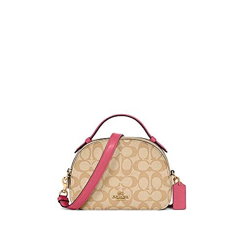 Coach Women's Serena Satchel in Crossgrain Leather (Light Khaki Confetti Pink)