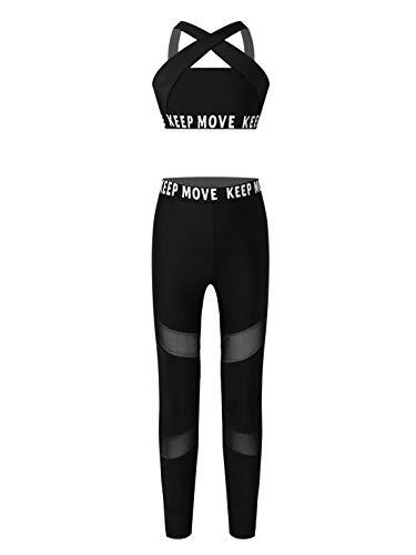 winying Chándal para niñas, Conjunto de Yoga Sujetador + Pantalones Largos, Ropa Deportiva para Correr, Traje Deportivo para niñas Negro 11-12 Years