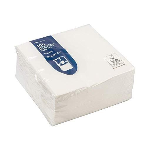 Garciadepou Tovaglioli in carta, bianco, 40 x 40 cm, confezione da 100 pezzi