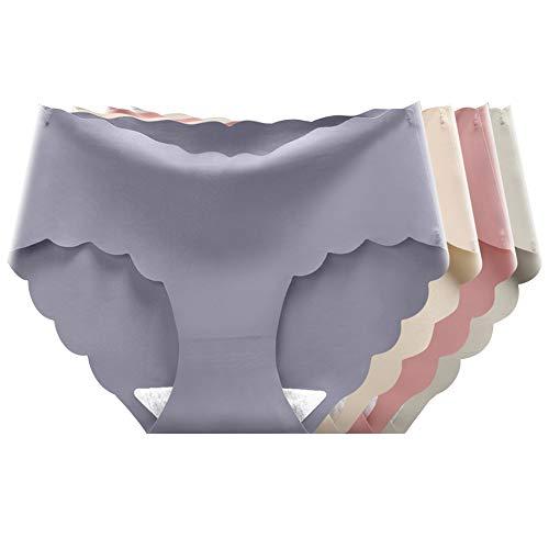 catch-L Ropa Interior Sin Costuras De Seda Hielo Bragas De Bikini De Cintura Baja para Mujer, Bragas Talla Grande, 8 Pack(Size:Extragrande,Color:B4 Pack)