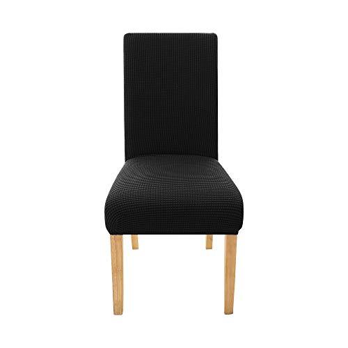 Amazon Brand – Umi Funda de Silla Suave Elastica Decorativas 4 Piezas Negro