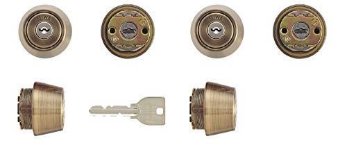 MIWA(美和ロック) U9シリンダー LSPタイプ TE24 鍵 交換 取替え 2個同一セット MCY-438 LSP/SWLSP金古美色(SA)30〜40mm