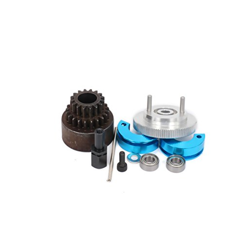 RCAWD Two Speed Clutch Set Bell Shoes Springs Flywheel Bearings Axle 16T-21T 16-21 Tooth Teeth for 1/10 RC Hobby Model Nitro Car HPI HSP Traxxas Axial 1set(Silver)