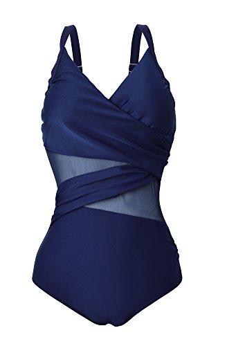 Century Star Women's Elegant Monokinis Adjustable Straps Plus Size Tankini Bathing Suit Navy M (US 4-6)