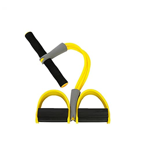 Tobillo del Tobillo, Gimnasio para Mujer Elástico Pull Rope 4 Tubos Culturismo Expansor para Abdomen Cintura Brazo Pierna Adelgazante Entrenamiento Amarillo