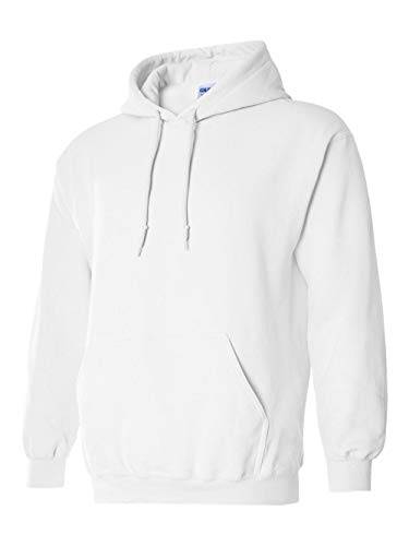 Gildan G185 Heavy Blend Adult Hooded Sweatshirt (Large, White)