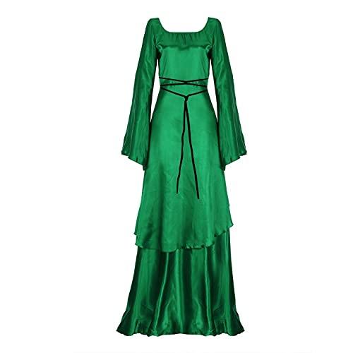 Julhold Vestido medieval para mujer, disfraz de bruja gótica, irregular, de manga larga, vintage, con cuerda de cintura alta, vestido maxi para cosplay (verde, XXL)