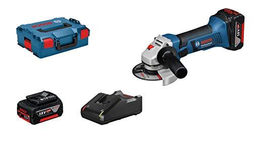 Bosch Professional GWS 18-125 V-LI Amoladora Angular, 2 baterías x 4.0 Ah, 10000 RPM, Disco diámetro 125 mm, en L-BOXX, 18 V, Color, Size