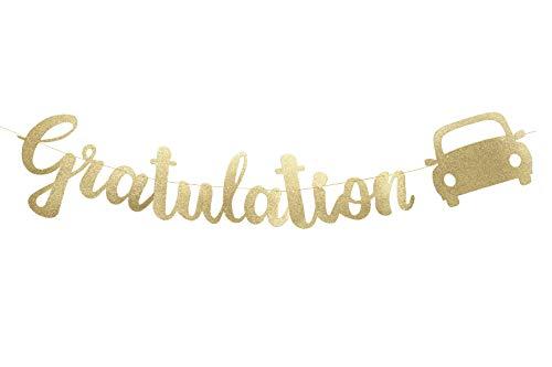 W.2 Gratulation Girlande zum bestandenen Auto Führerschein, glitzernd Gold, Party Deko
