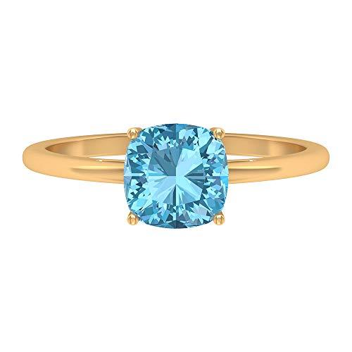 Anello solitario 1,5 ct acquamarina, anello di fidanzamento in oro (7 mm, taglio cuscino acquamarina), 14K Giallo oro, Size:EU 64