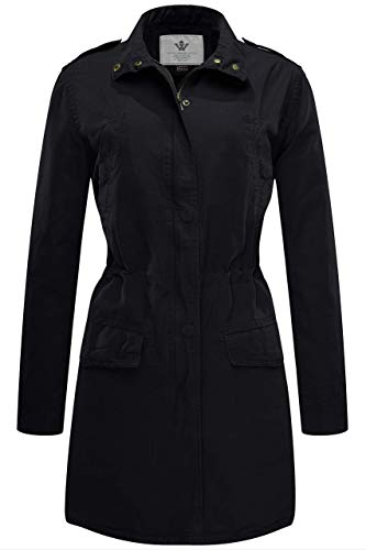 WenVen Women's Cotton Casual Lapel Thigh-Length Anorak Jacket Black Large