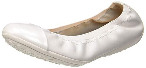Geox Damen Jr Piuma Ballerine a Geschlossene Ballerinas, Weiß (White C1000), 36 EU