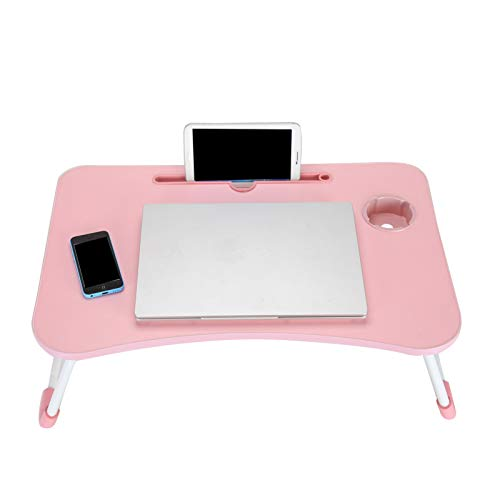 Laptop Bed Table 60 * 40 * 28cm Laptop Table Stand Folding Desk Computer Table for Sofa Bed(Pink)