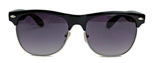 50er 60er Jahre Retro Sonnenbrille Halbrahmen Vintage Style Nerd Brille TM2 (Sonnenbrille schwarz/silber)