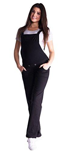 Mija - Denim Jeans Latzhose Umstandsjeans mit Bauchband 3018 (40, Schwarz)
