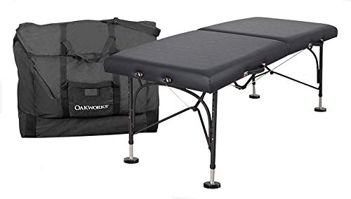 """OAKWORKS Portable Massage Table, BOSS Package, Professional Massage Bed with Field Feet, Carry Case, Sturdy,29"""" and 31"""" Wide, Made in USA. (Black, 29"""")"""