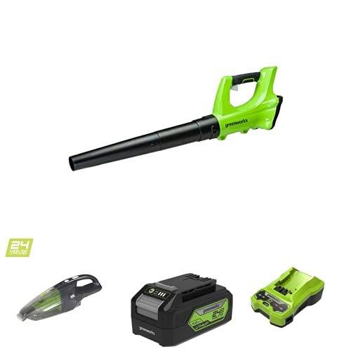 Greenworks Akku Axial-Laubbläser G24AB ohne Akku und Ladegerät+Akku-Handstaubsauger G24HV ohne Akku und Ladegerät+Akku G24B4 2.Generation+Akku-Ladegerät G24C