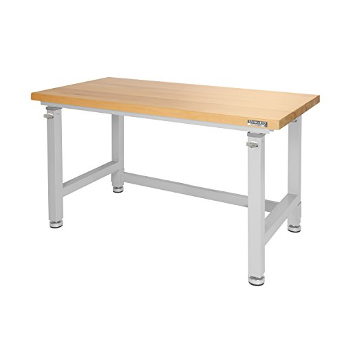Seville Classics UHD20288B UltraHD Height Adjustable 4-Foot Heavy-Duty Wood Top Workbench Table, 48', Granite Gray