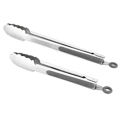 304 Stainless Steel Kitchen Cooking Tongs 9quot and 12quot Set of 2 Sturdy Grilling Barbeque Brushed Locking Food Tongs with Ergonomic Grip Grey