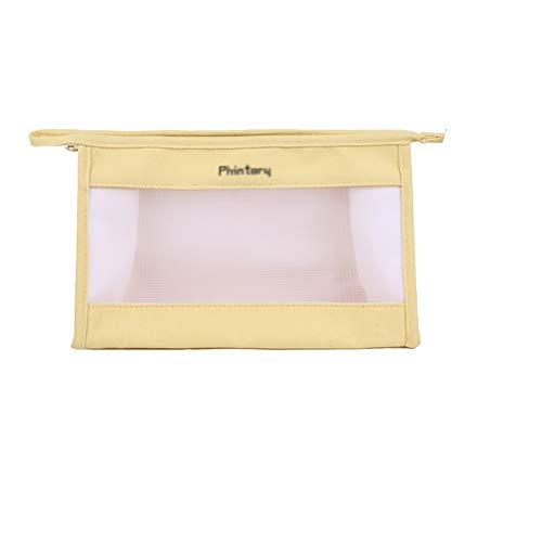 LASIMAO Bolso cosmético de Malla portátil, Bolsas de Maquillaje de Malla de Viaje, Gran Capacidad Organizador de Maquillaje Lavado Bolsa de Lavado Bolsa de Almacenamiento,Amarillo