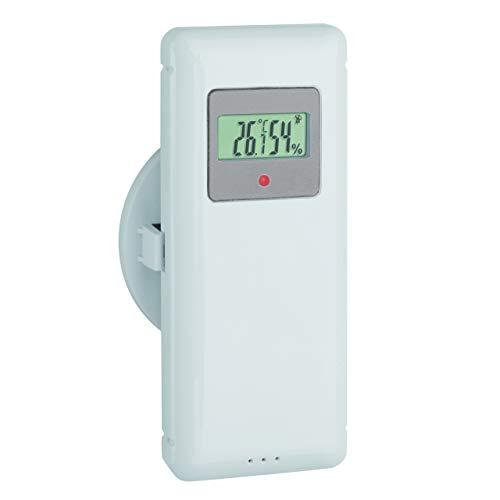 TFA Dostmann Thermo-Hygro-Sender, 30.3244.10, Außensender für Wetterstation 35.1156.01, mit Display, weiß, L65 x B40 x H110 mm