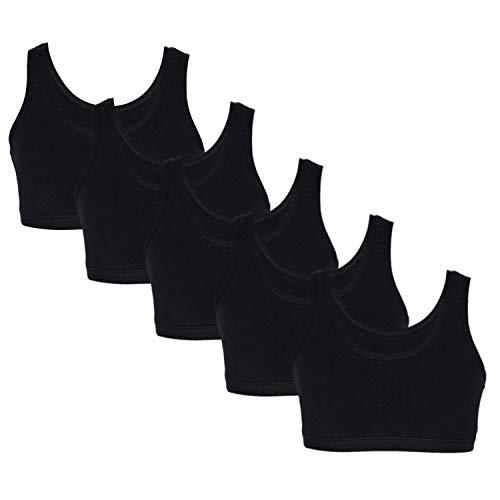 TupTam Mädchen Bustier mit Breiten Trägern 5er Pack, Farbe: Schwarz, Größe: 158-164