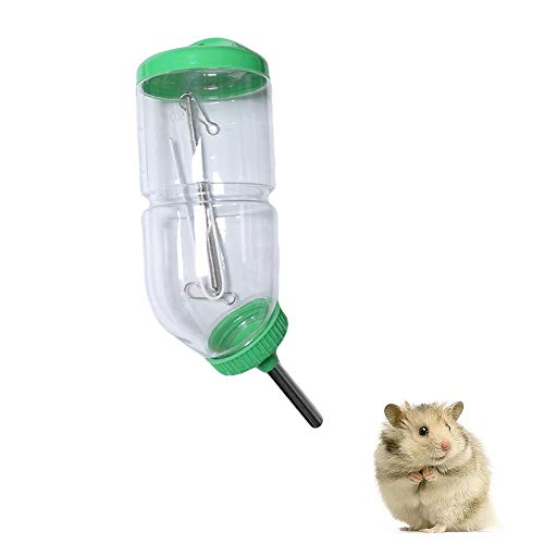 Yu-Xiang Hamster Water Bottle with Spring Hanger No Drip Rabbit Drinking Fountain Totoro Guinea Pig Automatic Feeder for Small Animal (L (0.13 Gallon), Green)