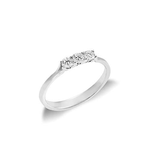 Anello Trilogy in Oro bianco 18k con Diamanti ct. 0,30-17