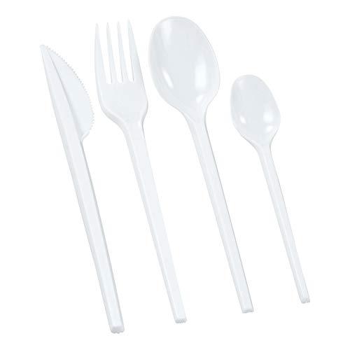 1-PACK Einweg-Besteck ECO-LINE, 100x Gabel + 100x Messer + 200x Löffel, weiß, 400 Stk. / Klassische Ausführung aus Polystyrol. Sehr Preiswert