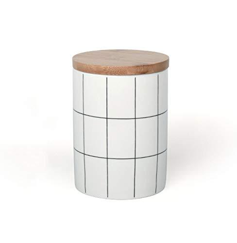 tarro de cristal con cierre hermético,tanques de almacenamiento de cerámica con tapas de madera selladas,tanques de almacenamiento de alimentos portátiles,utilizados para café,nueces,té,etc(3 tamaños)