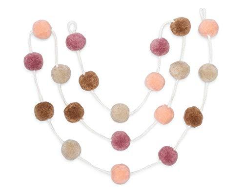 Zoe Frances Designs Yarn Pom Pom Garland - Colorful Hanging Decorations for Nursery, Baby Shower, Birthday & Christmas - Bedroom Decor for Girls - Blush Pink, Mauve & Mustard Gold