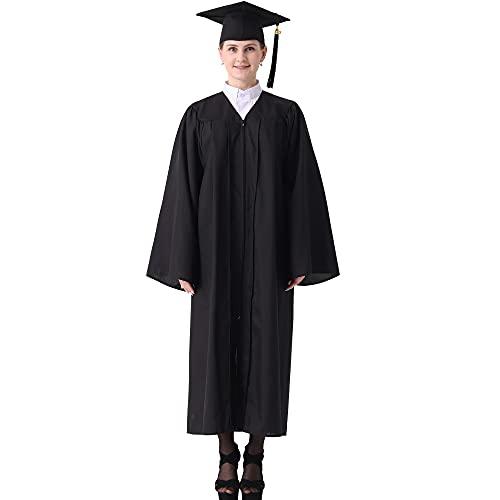 GraduatePro Graduación Toga y Birrete Universidad 2021 Bachillerato Adulto Disfraz Regalo Unisex Mujer Hombre Negro