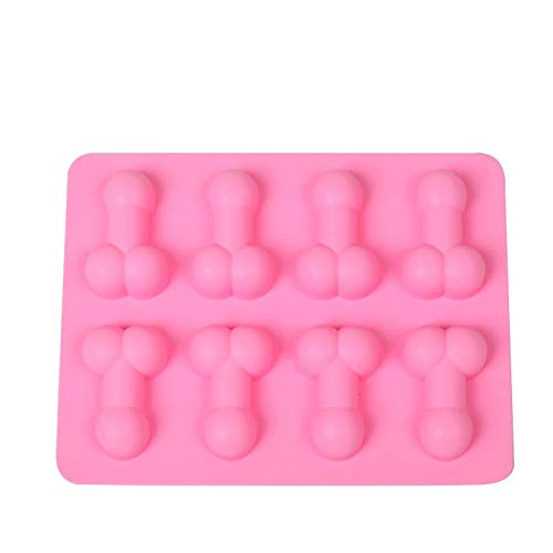 BrawljRORty Ice Cube Trays, Cake Mold 8 Grids Handmade Silicone Home Baking Tool for Kitchen Reusable and BPA Free, for Cocktail, Whiskey, Keep Drinks Chilled – Pink