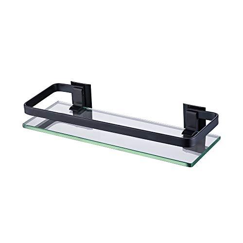 Ruosaren Badkamer Glas Plank Aluminium Zwart Extra Dikke Gehard Glas Rechthoekige Mand Muur Gemonteerd