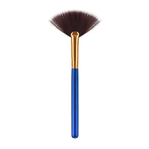 Poignée en bois Brosse de maquillage poils de nylon doux cosmétiques Kit Blush poudre poudre pour femme (TM-102) (Bleu et Gilden)