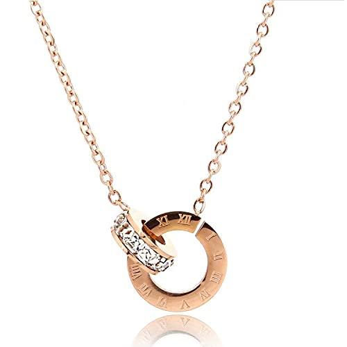 Chapado en oro rosa de acero de titanio Números romanos Anillo doble Collar decorativo Mujer Todo-fósforo Color Oro Cadena de clavícula Joyería