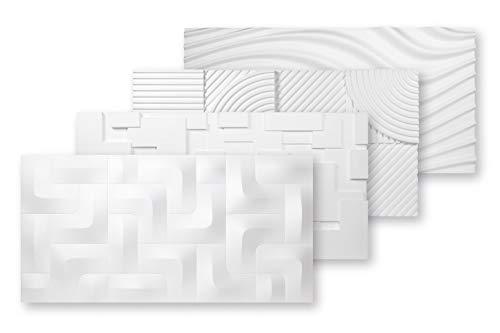 Paneles 3D de poliestireno expandido | Paneles EPS | Revestimiento de pared y techo | Resistente al agua | Placas decorativas | 3 dimensiones | 96 x 48 cm | PD-4