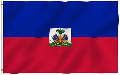 ANLEY Fly Breeze 3x5 Foot (90x150 cm) Haïti-vlag - Levendige kleuren en UV-lichtbestendig - Canvaskop en dubbel gestikt - Haïtiaanse nationale vlaggen Polyester met koperen doorvoertules 3 x 5 voet