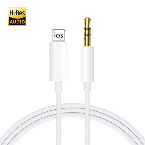 Aux-Kabel für iPhone, Ubluker Aux-Kabel für Auto, kompatibel mit iPhone11 / Pro / 8/7/6 / 6s / Plus/XS/XR/XS MAX zu Autoradio/Lautsprecher/Kopfhöreradapter, kompatibel mit Allen iOS-Systemen (Weiß)