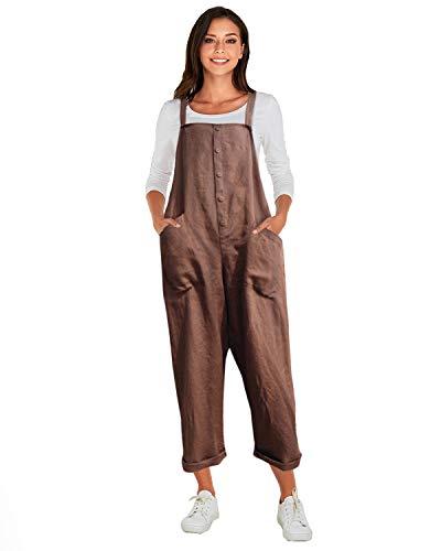 VONDA Latzhose Damen Winter Herbst Baumwolle Jumpsuit Retro Lange Overall Sommerhose A-Kaffee S