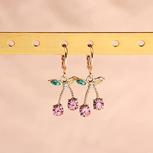 SONGK Pendientes Colgantes de Cristal de Cereza Coloridos para Mujer, Pendiente Colgante de Cereza de Fruta de Metal, Bonitos Regalos de joyería de Cerezas