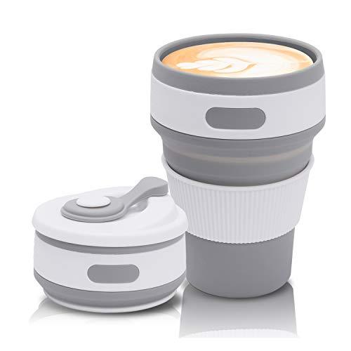 Jazz Pose Kaffeebecher to go, Faltbarer Kaffeebecher, Faltbare Kaffeetasse, Faltbarer Becher, Faltbare Tasse, Becher Faltbar, Kaffee Geschenk, BPA-Frei (Grau, 350 ML/12 OZ)