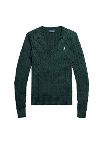 Polo Ralph Lauren - Maglione da donna con motivo a trecce, colore: Verde College – verde...