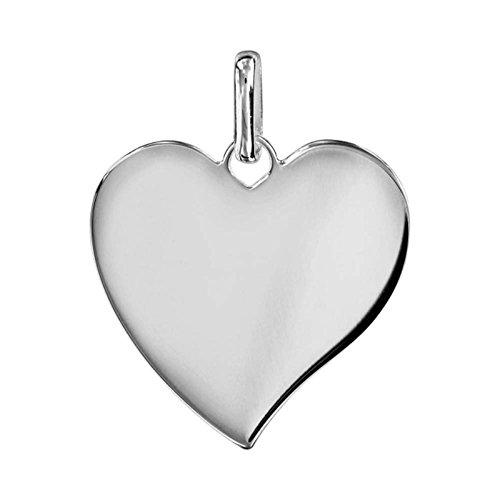 Bijoux Laperledargent Ciondolo argento 925cuore medio modello opzione incisione