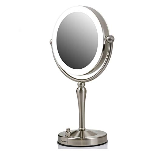 Ovente Double Sided Lighted Table Top Makeup Mirror 7.5 Inch 1X 10X Magnifier 360 Degree Rotating Acrylic Edge Dimmable LED Battery USB Adapter Operated Stand Circle Large Nickel Brushed MKT75BR1X10X