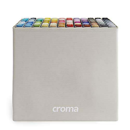 Croma Katai Fine Dual Tip Alcohol Based Sketch Markers, 72 A/B/C Set, Ergonomic, Odorless, Replaceable Nibs, for Coloring Manga, Comic, Illustrations Art, Design with Durable Portable Bag (72 A)